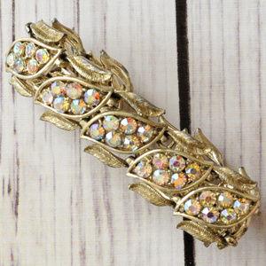 vintage gold tone ab rhinestone link bracelet